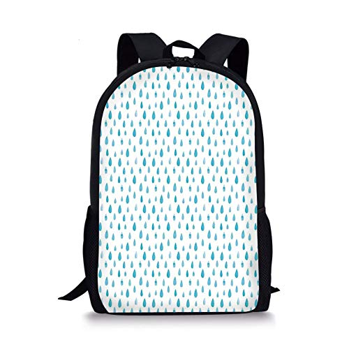 School Bags Farmhouse Decor,Watercolor Drip Drops Pattern in Various Sizes Terrain Humidity Zone Sign,Blue White for Boys&Girls Mens Sport Daypack