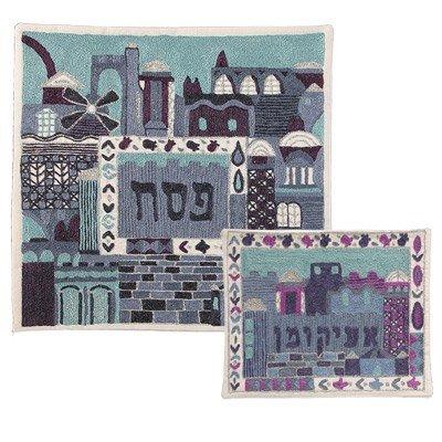 - Hand-Embroidered Matzah Cover & Afikoman Set - Jerusalem in Blue
