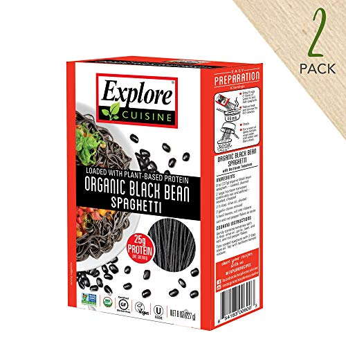 Kosher Organic Black Beans - Explore Cuisine Organic Black Bean Spaghetti (2 Pack) - 8 oz - High Protein, Gluten Free Pasta, Easy to Make - USDA Certified Organic, Vegan, Kosher, Non GMO - 8 Total Servings