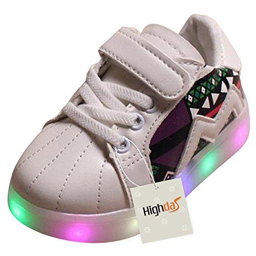 Highdas Kleinkind Jungen Mädchen LED Schuh bunte leuchten Sneakers Turnschuhe M001-Weiß