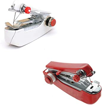 Ogquaton Portátil de Mano Mini máquina de Coser Manual Ropa de la máquina de la Puntada Telas de artesanía para la ...