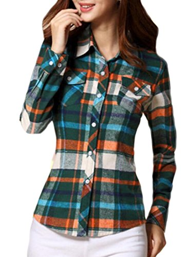 Button Women's amp;W Print Slim Brushed M Down Shirts 6 Plaid amp;S P7paqw00B