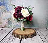 Best Quality Rustic Wedding Bouquet Silk Flowers Burgundy Greenery