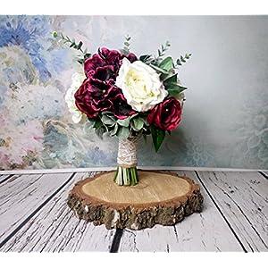 Best Quality Rustic Wedding Bouquet Silk Flowers Burgundy Greenery 54