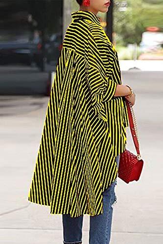 Haut Fit Jaune Irrgulire Femmes Bas Lache Blouses Tunique Blouse Tops Rayures wqavAtH