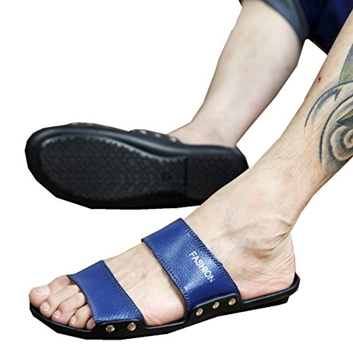 Bininbox Heren-slippers Plat Sandaal Zomer Ademende Schoen Open-teenband Blauw