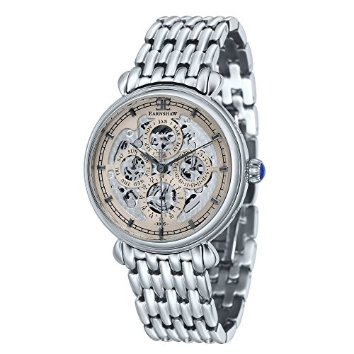 Thomas Earnshaw Men's 'GRAND CALENDAR' Automatic Stainless Steel Casual Watch, Color:Silver-Toned (Model: ES-8043-33)