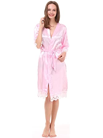 Mr&Mrs Right® Women\'s Purple Lace Satin Wedding Robes for Brides and ...