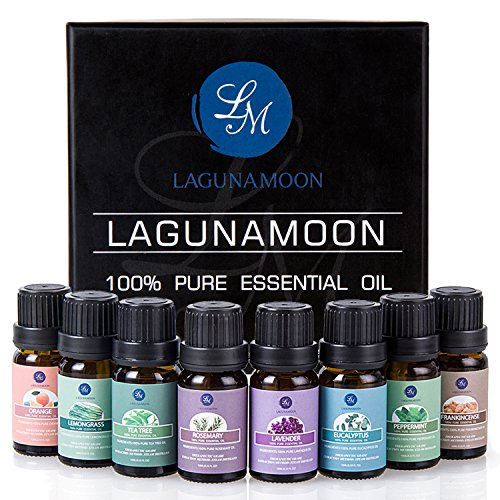Top 8 Essential Oils Set,Pure Therapeutic Grade Aromatherapy Oils,Lavender,Eucalyptus,Lemongrass,Frankincense,Orange,Rosemary,Peppermint,Tea Tree Essential Oils