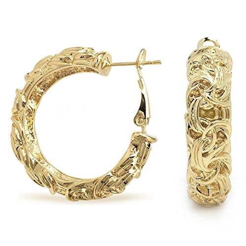 Byzantine Knot - Byzantine Knot Gold Plated Hoop Earrings Wide Omega Back Women Fashion