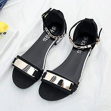 LGK   FA Sommer Damen Sandalen Damen Sandalen nackten Zehen uni Schnalle  Flache Unterseite Damen Schuhe 2c6918f1bd