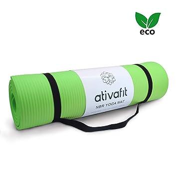 ATIVAFIT Estera de Yoga TPE Premium, Espesor de 10 mm, 183 x 61 x 1cm Esterilla Pilates, para Ejercicios en el Suelo, Gimnasia, Camping, ...