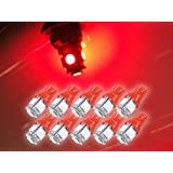 Zone Tech 10x 194 168 2825 5-smd RED High Power SUPER BRIGHT LED Car Lights Bulb