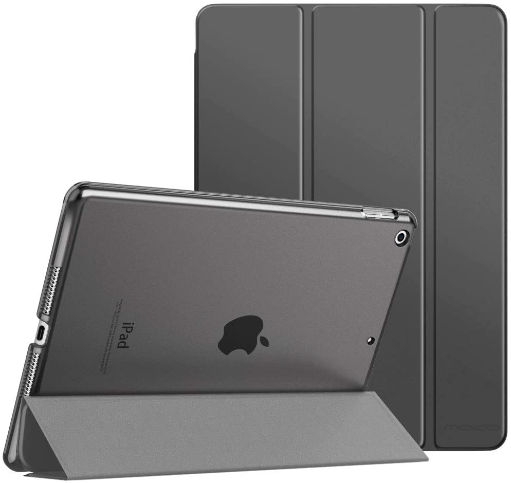 """MoKo Case Fit New iPad 8th Gen 2020 / 7th Generation 2019, iPad 10.2 Case - Slim Smart Shell Stand Cover with Translucent Frosted Back Protector for iPad 10.2"""", Space Gray(Auto Wake/Sleep)"""