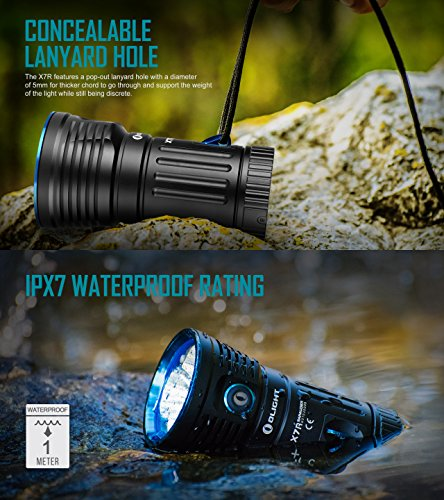 Olight X7R Marauder 12000 Lumens CREE XHP 70 LED USB Rechargeable Flashlight for Camping,Hunting,Searching,with 4 X 18650 Rechargeable Batteries (Built-in) and SKYBEN Accessory by SKYBEN (Image #5)