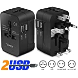 Universal Plug Adapter TENACHI Worldwide Travel Plug Converter Adaptor All In One Wall Charger With 2 USB 2.1A Works 110 240V for EU UK US AU Plugs