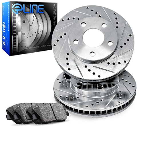 Front eLine Drilled Slotted Brake Rotors & Ceramic Brake Pads Chevrolet - Front Brake Chevrolet Pads Camaro