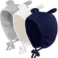 Duoyeree Baby Girls Bonnet 2 Pack Soft Cotton Cute Newborn Infant Hats 0-8 Months