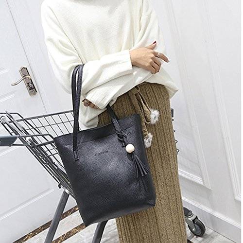 Women Black Leather 3pcs Bag Bag Widewing Shoulder New Handbag Clutch Spring PU Fashion txRTw7q1