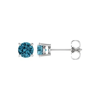 a445ca34c Image Unavailable. Image not available for. Color: 5mm Round Blue Zircon  Stud Earrings in 14k White Gold