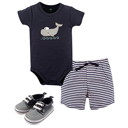 Hudson Baby Baby Boys' Cotton Bodysuit, Shorts and Shoe 3 Piece Set, Sailor Whale, 12-18 Months (Three Piece Cotton Shorts)