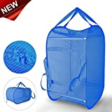 Mesh Pop-Up Laundry Hamper, Daly Kate Foldable Laundry Basket Large Mesh Hamper with Double Opennings and Reinforced Handles for Dirty Clothes-15x25'(Blue)