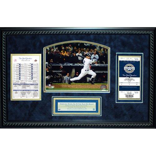 Steiner Sports MLB New York Yankees Derek Jeter All Time Yankees Hit Leader Replica Ticket and Line up Card Framed 14x22 (Framed Replica Line Up Card)