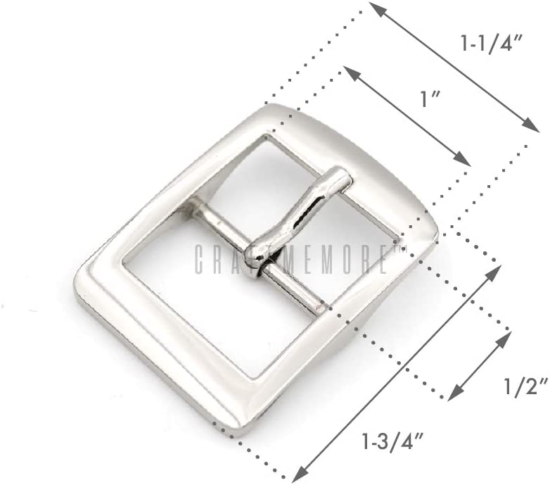 CRAFTMEmore Single Prong Belt Buckle Square Center Bar Buckles Purse Making Accessories Fits 1 Inch Strap Pack of 4 1 Inch, Brushed Gold Bronze
