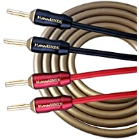 HannLinte Speaker Cable (10.0FTx2) with Gold Plated Pin Plugs -14AWG (OFC) , Pair (2 Cables), Round Cable