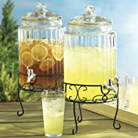 Ribbed Glass Beverage Dispenser with Stand 1.5 Gallon