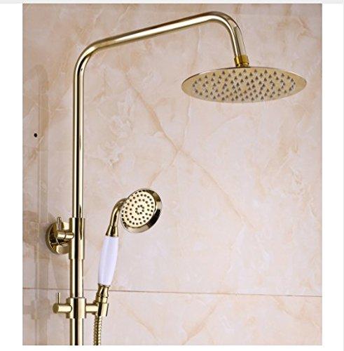 Gowe Exposed Rain Shower Set Faucet Bath Crystal Style Tub Gold Finish Mixer Tap 2