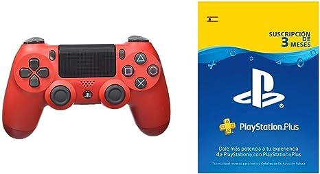 Sony - Dualshock 4 V2 Mando Inalámbrico, Color Rojo (Magma Red) (PS4) + PlayStation Plus Suscripción 3 Meses | Código de descarga PSN: Amazon.es: Videojuegos