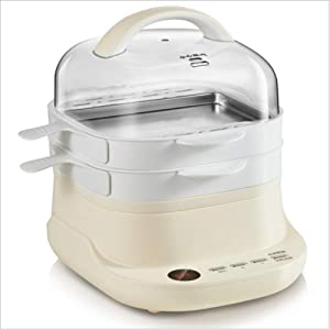 Household Small Mini Multifunctional Electric Steamer Rice Noodle Maker Drawer Type Breakfast Machine Food Steamer, 6 Cooking Modes 9.5 Hours Reservation Function,Beige