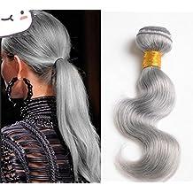 Wigsforyou@7A Brazilian Virgin Hair Body Wave Platinum Grey 1Pcs Lot 8-28inch Grey Human Hair Weave Bundles Silver Grey Hair Extensions by Wigsforyou