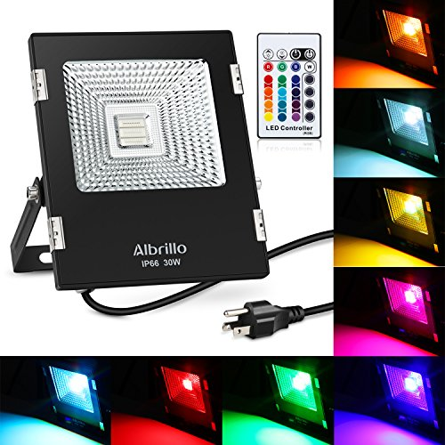 Albrillo 30W RGB Flood Lights Waterproof LED Floodlight with Remote Control and US Plug, 16 Colors and 4 Modes Adjustable Wall Washer