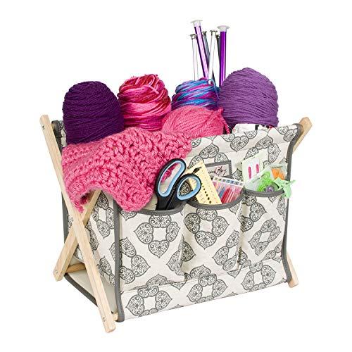 (Everything Mary Deluxe Fold-Up Wooden Yarn Arts Caddy - Organization Storage for Knitting, Yarn, Crotchet - Yarn & Notions Organization - Tangle Free Yarn Caddy Bag Organizer for Tools & Travel)