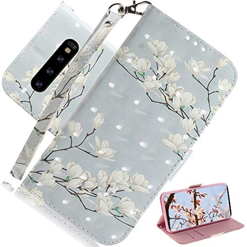 EMAXELER Samsung Galaxy S10 Plus Case 3D Creative Cartoon Pattern PU Leather Flip Wallet Case Kickstand Credit Cards Slot Stand Case Cover for Samsung Galaxy S10 Plus White Flower TX.