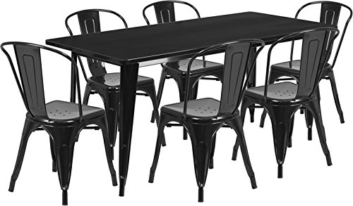 Flash Furniture 31.5'' x 63'' Rectangular Black Metal Indoor-Outdoor Table Set with 6 Stack Chairs