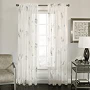 Lorraine Home Fashions 06554-63-00017 WHITE/MULTI Fern Tailored Window Curtain Panel, , 52  X 63