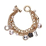 Gold Tone Chain Inspired Charm Bracelet for Women