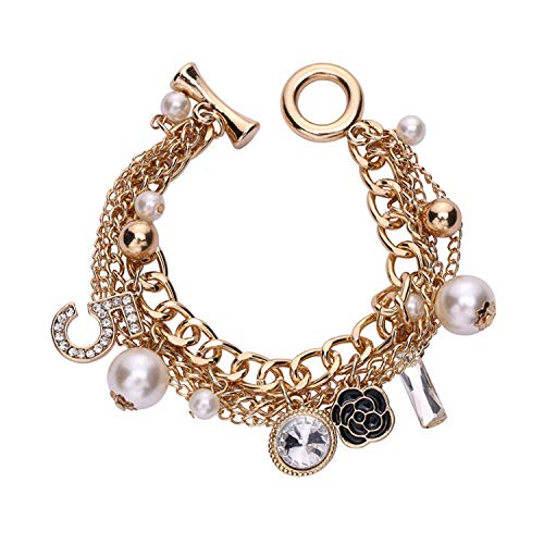 Gold Tone Chain Inspired Charm Bracelet for Women (Fake Chanel Jewelry)