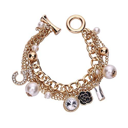 amzcoin Gold Tone Chain Inspired Charm Bracelet for Women