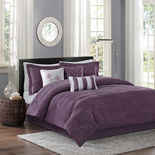 Madison Park Hampton King Size Bed Comforter Set Bed in A Bag - Purple, Jacquard Pleated Stripes - 7 Pieces Bedding Sets - Ultra Soft Microfiber Bedroom Comforters