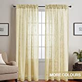 Linen Textured Sheer Curtains For Bedroom Yellow 84 Inch Window Curtain Set  Of 2 Panels Rod Pocket Drapes