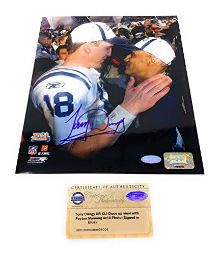 Tony Dungy Peyton Manning Indianapolis Colts Signed Autograph Super Bowl XLI 8x10 Photo Photograph Steiner Sports Certified from Mister Mancave