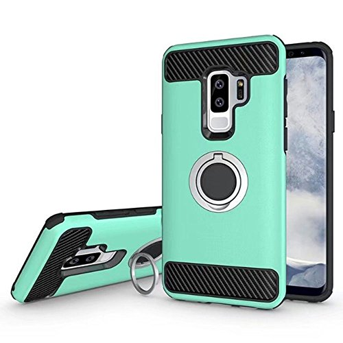 393 Mint (J.west Galaxy S9Plus Case, S9+ Case, Ring Holder Dual Layer Armor Cover Hybrid Heavy Duty Hard PC TPU Carbon Fiber Anti-scratch Shockproof Protective Case with Kickstand for Galaxy S9 Plus, Mint Green)
