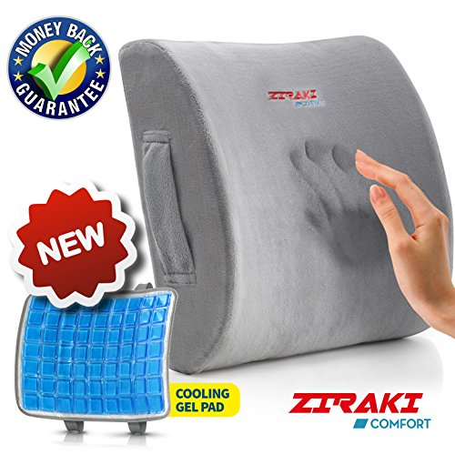 Ziraki Lumbar Support Memory Foam Cushion, 5 in 1 - New Feature No Sweat Cooling Gel Pad - Ideal Gift, Lower Back Pain Support, Protect & Soothe Your Back, Improve Your Posture With Soft & Firm Pillow