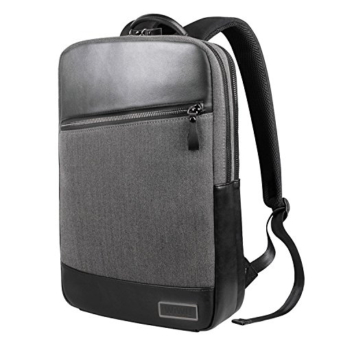 WIWU Laptop Leather Backpack Slim Business Rucksack for 15.6 Inch Laptop and Notebook-Waterproof Travel Backpack with Anti-Theft Pullers Computer Bags for Men/Women/Business/College and School(Black) -