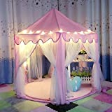 DeceStar Cute Pink Princess Castle Kids Indoor Playhouse, Comes with the Light