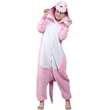 Rosa dinosaurio hombres adultos Mujeres Unisex Kigurumi traje de Cosplay pijama Pelele Animal ytrineo Nonopnd siegner